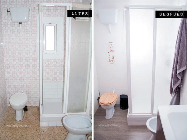 Descubrimos el cambio de un baño para el que no se ha necesitado hace obra, sólo un poco de vinilo y un mueble nuevo para el lavabo