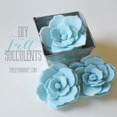 Make Faux Succulents out of Felt | The DIY Mommy I'd like to try with shades of green felt!!! not blue