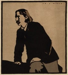 Robert Louis Stevenson, after Joseph Simpson, lithograph after a woodcut, 1902. Purchased 1929 by the National Portrait Gallery D9956. Image © National Portrait Gallery, London