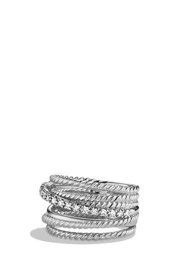 David Yurman 'Crossover' Wide Ring with Diamonds available at #Nordstrom