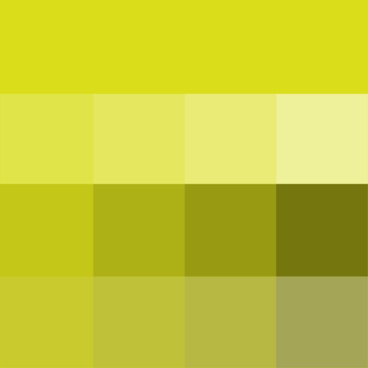 Chartreuse Hue ( pure color ) with Tints (hue + white), Shades (hue + black) and Tones (hue + grey, which desaturates the Hue)