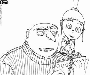 Colorear Gru, el villano leyendo un cuento con la pequeña niña Agnes