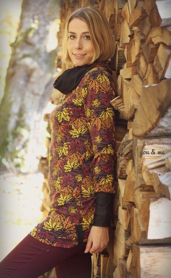 Blätterrausch von #ALEKSIO #ASTROKATZE Nähbeispiel von *you and me* https://www.facebook.com/fuerdichvonmir/ #interlock #herbstlaub #herbst #laub #blaetter #leaves #stoffdesign #textildesign #organiccotton #fabric #diy #sewing #designerstoffe