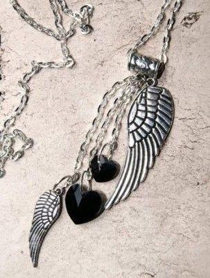 #Naszyjnik #Wisior #Skrzydła #Swarovski #Necklace #charms #pendant #black #wings #jewelry #bizuteria