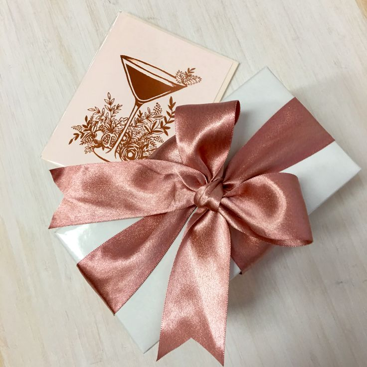 Rose gold ribbon and matching card. Yum yum yum