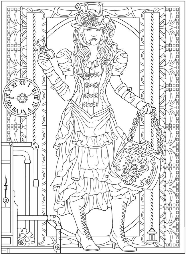 steampunk girl coloring pages - photo#28