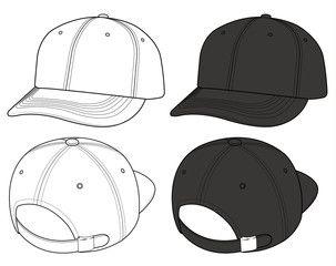 741d13d3 Basic ball cap vector illustration flat sketches template ...