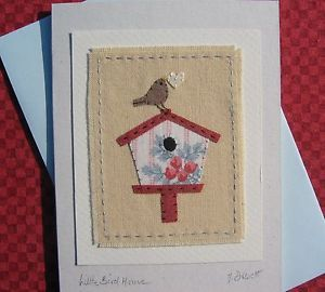 Handstitched card designed/made by Helen Drewett LITLE BIRD HOUSE more in shop   eBay