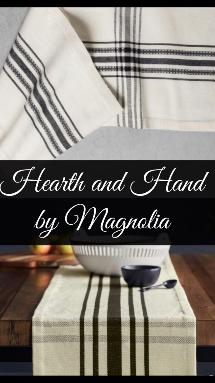 Cream/white and black plaid table runner by Hearth and