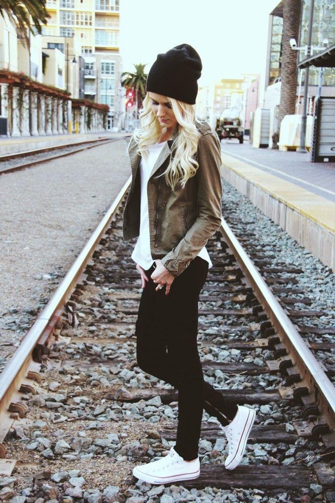 Black Beanie | Army colors | Converse | Fashion Blogger