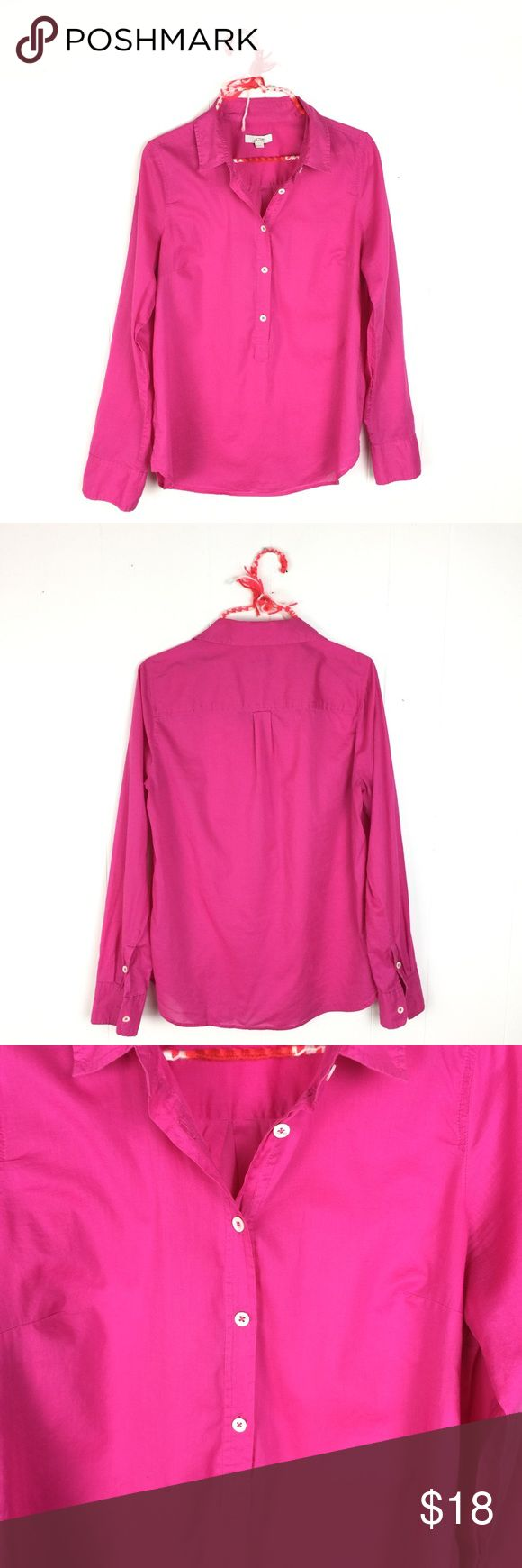 "J. Crew Hot Pink Lightweight Popover Shirt // 10 Fantastic J. Crew Hot pink Popover Shirt. Lightweight. No fiber tag - feels like cotton. Very good condition. Size 10. 26"" shoulder to bottom. 20 1/2"" underarm to underarm. J. Crew Tops Blouses"