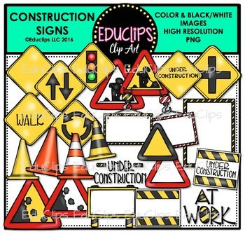 This is a collection of construction road signs. The signs in this set include traffic light, passing (overtaking), traffic circle (roundabout), junction (crossroads), rocks falling, walk, at work, under construction and a variety of blank signs for you to add your own choice of words.44 images (26 in color and 18 in B&W)This set is also available (at a discount) as part of the CONSTRUCTION MEGA BUNDLE.This set contains all of the images shown.Images saved at 300dpi in PNG files. $6.00
