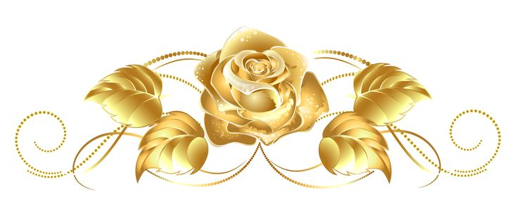 Beautiful Gold Rose Decor PNG Clipart