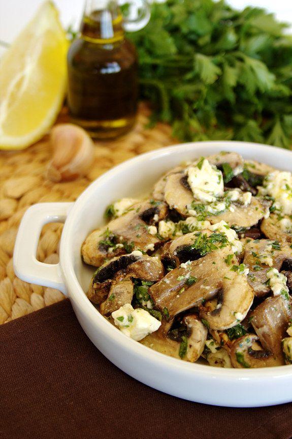 Cinco Quartos de Laranja: Salada de cogumelos grelhados com queijo feta