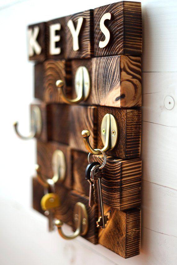 Personalized Men Key Hook Key Rack For Wall Wooden Key Holder Wood Key Hanger Wa…