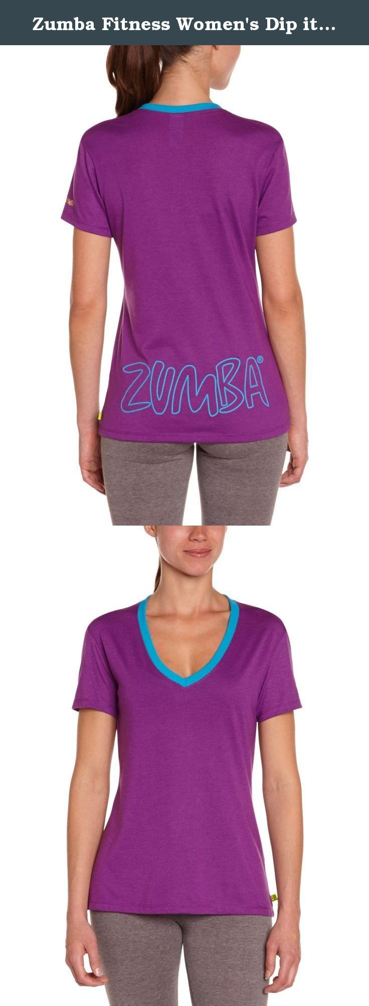 Zumba Fitness Women's Dip it Low V-Neck Tee, Cut N Paste Purple, Large. You work hard to look that good, girl. Show off whatcha workin' with in the ultimate tee for layering, pairing and daring to be noticed. The Dip-It-Low V-Neck is the answer to every wardrobe question. Sporty or cute? Both. Athletic or feminine. Both. Like the perfect pair of jeans, this tee will pull your whole look together. Go ahead, style star, show 'em how it's done.