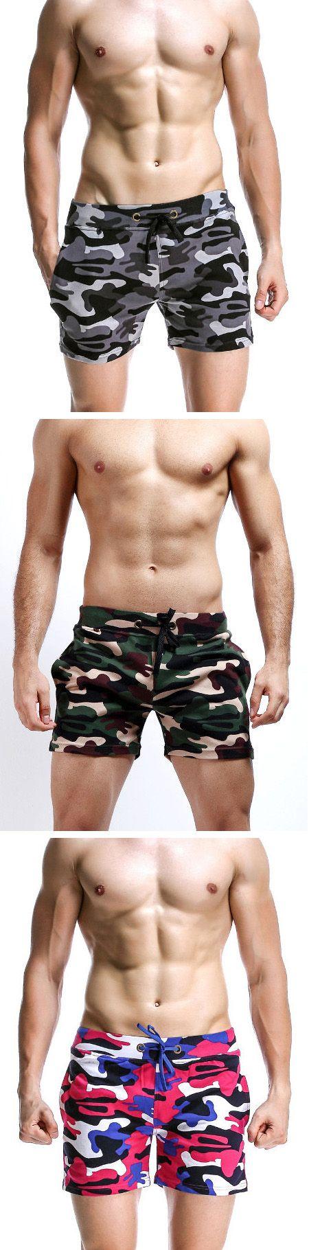 Mens Camo Home Shorts Breathable Elastic Waist Drawstring Casual Sports Shorts