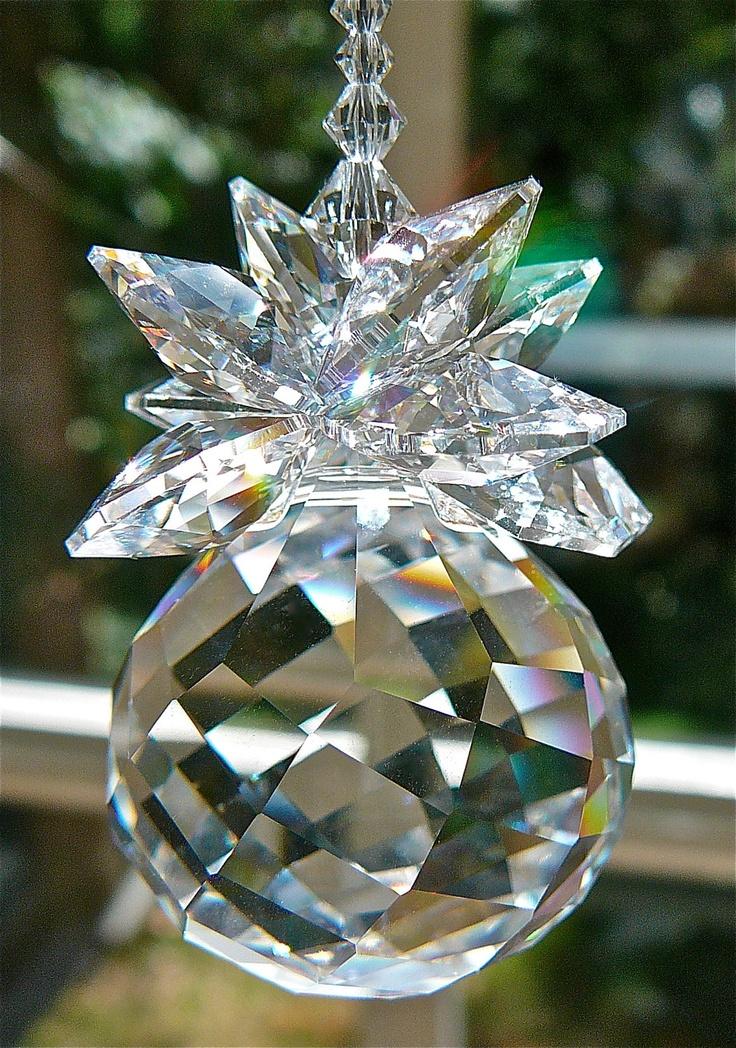 """Isabella Long -10"""" Swarovski Crystal Suncatcher, 30mm Swarovski Ball With a Cluster of Swarovski Crystal Octagons, Beaded Swarovski Strand. $31.00, via Etsy."""