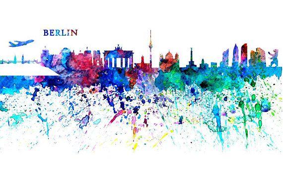 Berlin Skyline In Clean Scissor Cut Style Fine Art Print