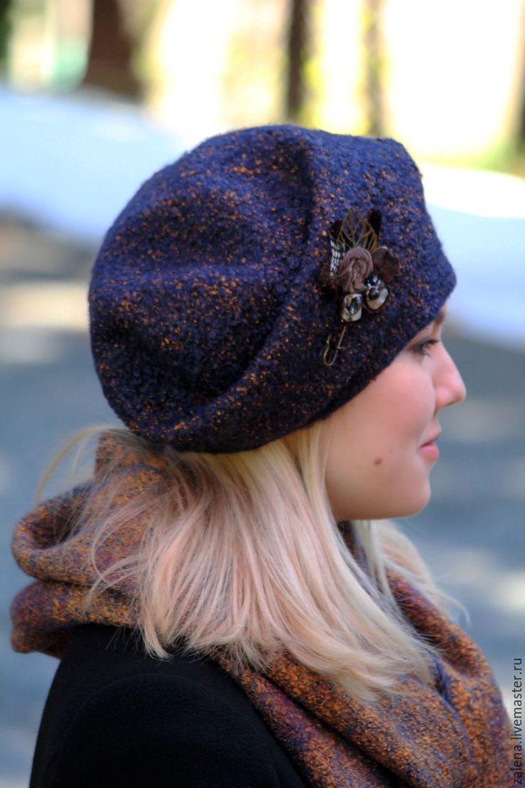 """Купить Валяная шапочка """"Осенний вечер"""" - разноцветный, абстрактный, купить шапку, купить шапочку"""