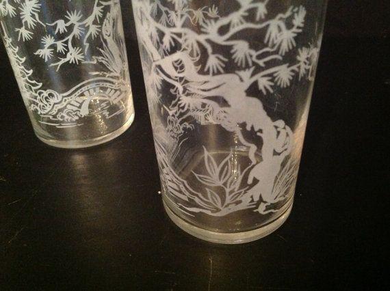 set of 4 asian clear bar glasses with pagoda tree by BonBibelots