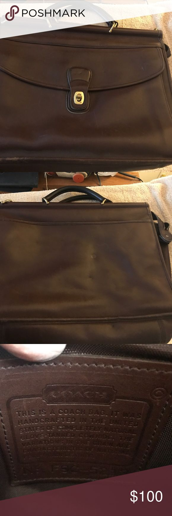 Coach brown briefcase/laptop case F9C-5213 genuine Genuine Coach briefcase/laptop case is in very good condition. Some indents but no holes. Edges are a little rubbed on corners. Shoulder strap is missing. Coach Bags Laptop Bags