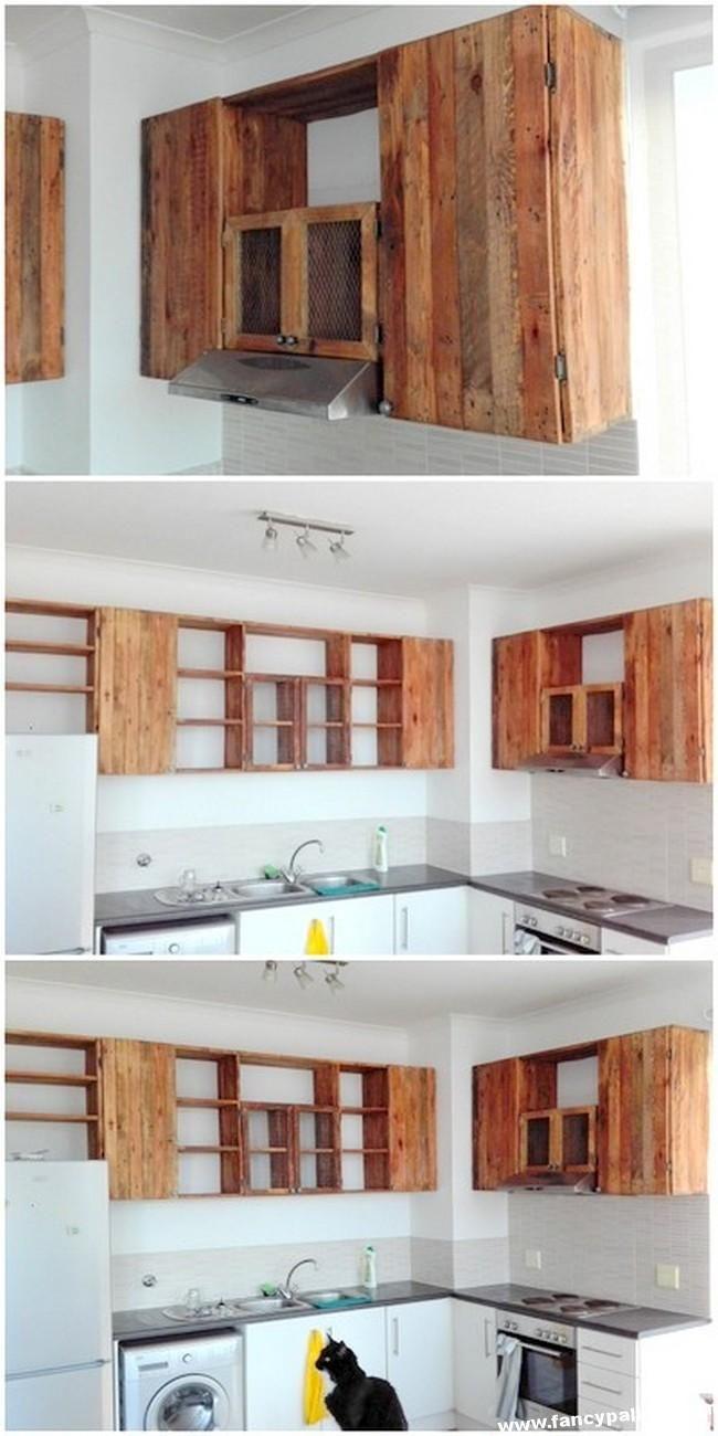 Inexpensive diy pallet kitchen cabinet