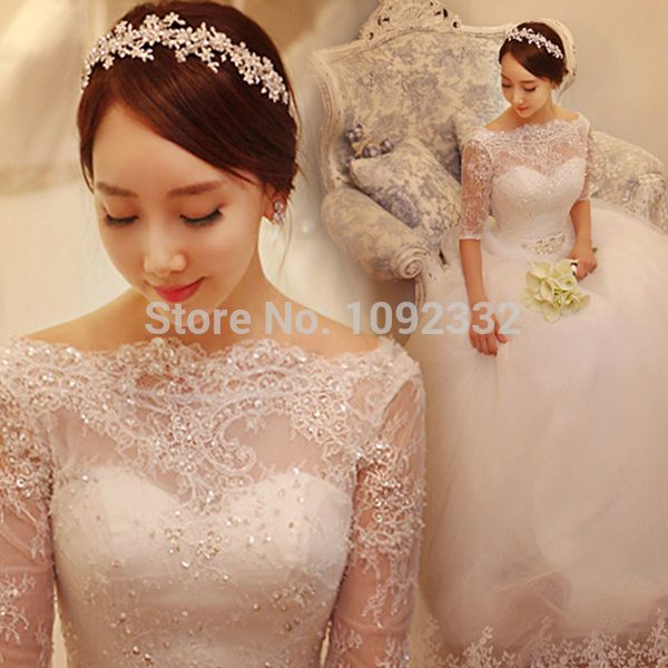 z 2016 New stock bridal gown plus size women wedding dress backless one word shoulder lace princess long sleeve ball gown 9928-in Wedding Dresses from Weddings & Events on Aliexpress.com | Alibaba Group