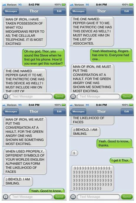 Thor discovers the iPhone.: Laughing, Avengers, Texts Messages, Funny, Irons Men, Ironman, Thor Texts, Superhero, Phones