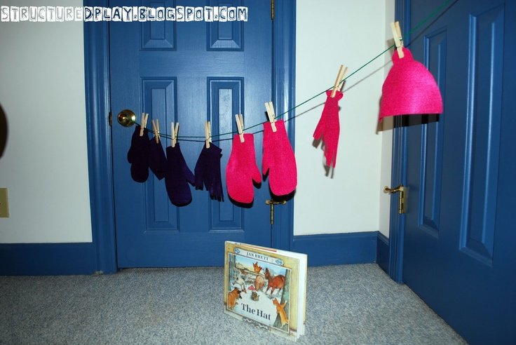 Clothes Study, Creative Curriculum Objectives: 35, 36, 44, 19  After an interactive read aloud of Jan Brett's The Mitten, have student use fine motor skills to hang mittens up on a line.  Use larger clothespins to adapt activity.  Cut out different colored mittens to also make this a matching activity.  Allow the student to act out the story using a big mitten and character props.