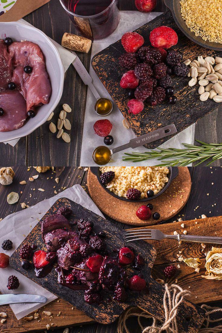 Томленые утиные грудки с ягодами и булгуром с орехами. Утиные грудки, малина, черная смородина, клубника, вино красное, ежевика, розмарин свежий, мед, булгур, арахис жареный. Подробный рецепт можно найти в архиве рецептов на сайте vkusnadom.ru/ Готовить изысканные ресторанные блюда легко с ВкусНаДом!) Заказ можно сделать на сайте vkusnadom.ru/ или в группе в вк vk.com/vkusnadom