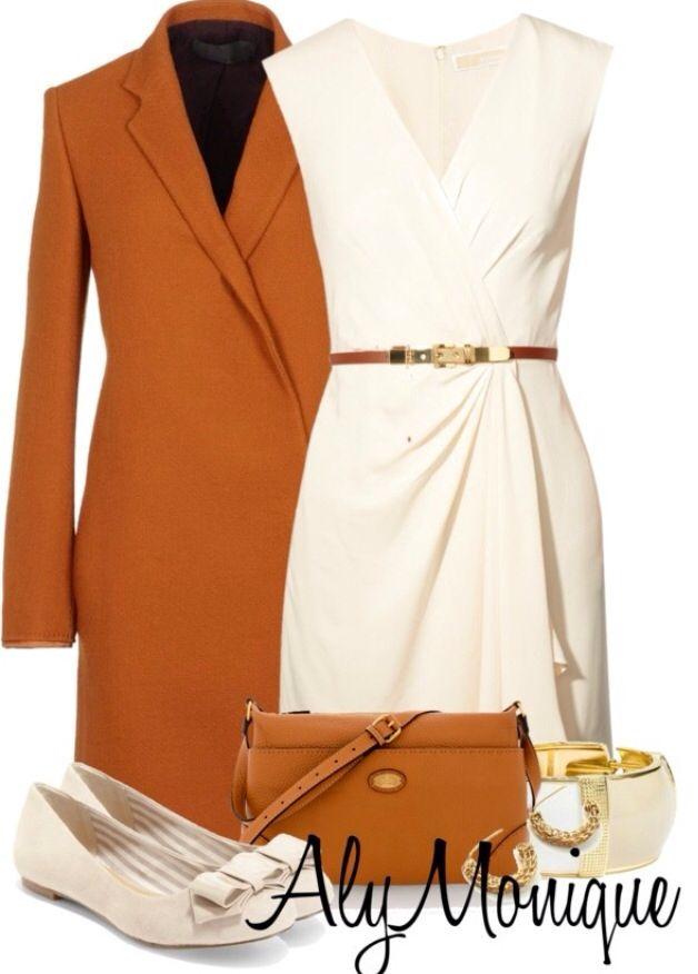 Cream Dress Pumpkin Spice Colored Coat Women S Fashion Outfit Idea