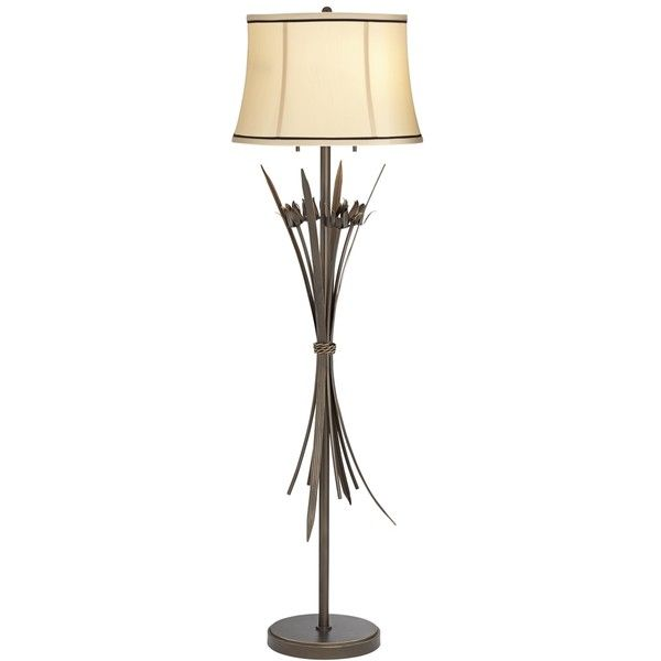 Tully Gold-Edge Bronze Bouquet Metal Floor Lamp ($300) ❤ liked on Polyvore featuring home, lighting, floor lamps, brown, leaf lights, bronze floor lamp, flower floor lamp, brown lamps and brown floor lamp
