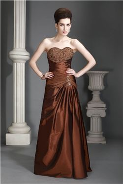 Sweetheart Sleeveless A-line Elegant & Luxurious Zipper-up Natural Floor-Length Taffeta Dress