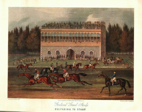 Goodwood Grand Stands: Preparing to Start J Pollard, from the Engraving - engraver R G Reewe Art Journal 10 x 8 inches- 0032