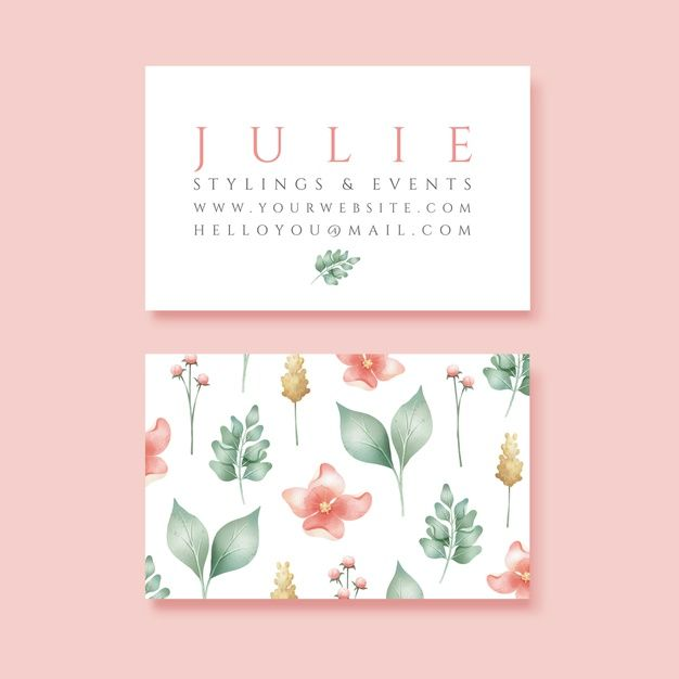 Download Realistic Hand Drawn Floral Business Card Template For Free Floral Business Cards Business Card Template Business Card Design