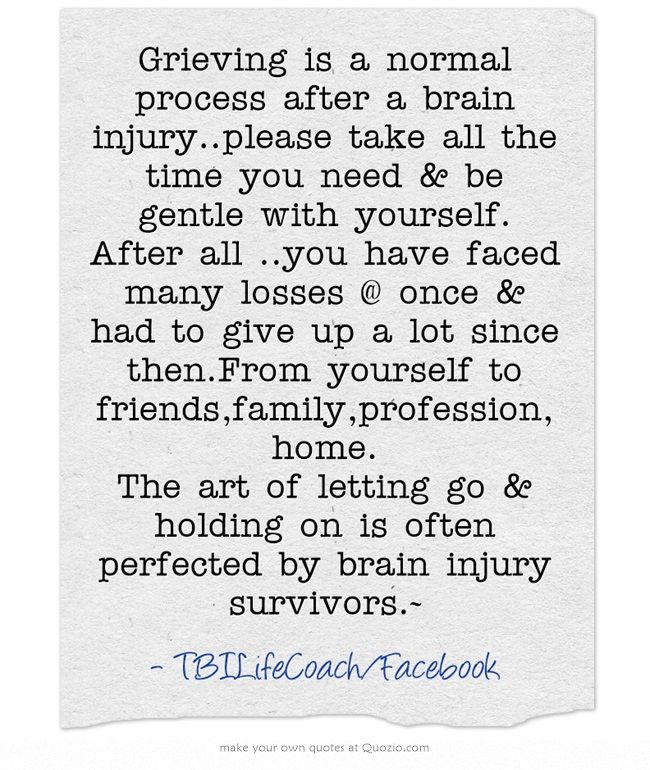Grieving is a normal process after a brain injury..please take all the time you need & be gentle with yourself. After all ..you have faced many losses @ once & had to give up a lot since then.From yourself to friends,family,profession,home. The art of letting go & holding on is often perfected by brain injury survivors.~