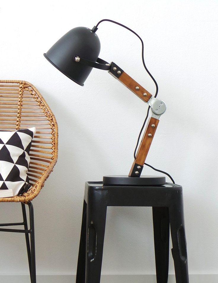 Industriële bureaulamp Bronq Cooper zwart