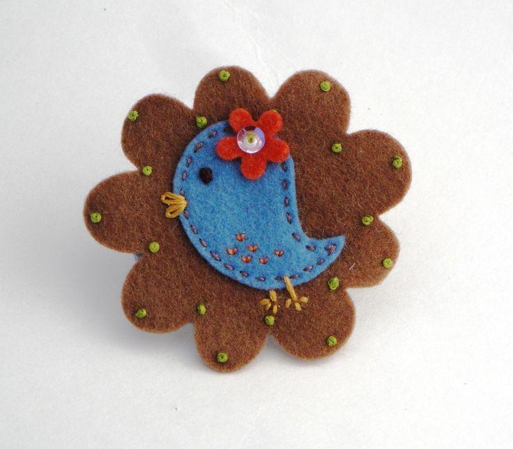 Felt Hair Clip - Little Blue Bird - Stocking Filler. $8.00, via Etsy.