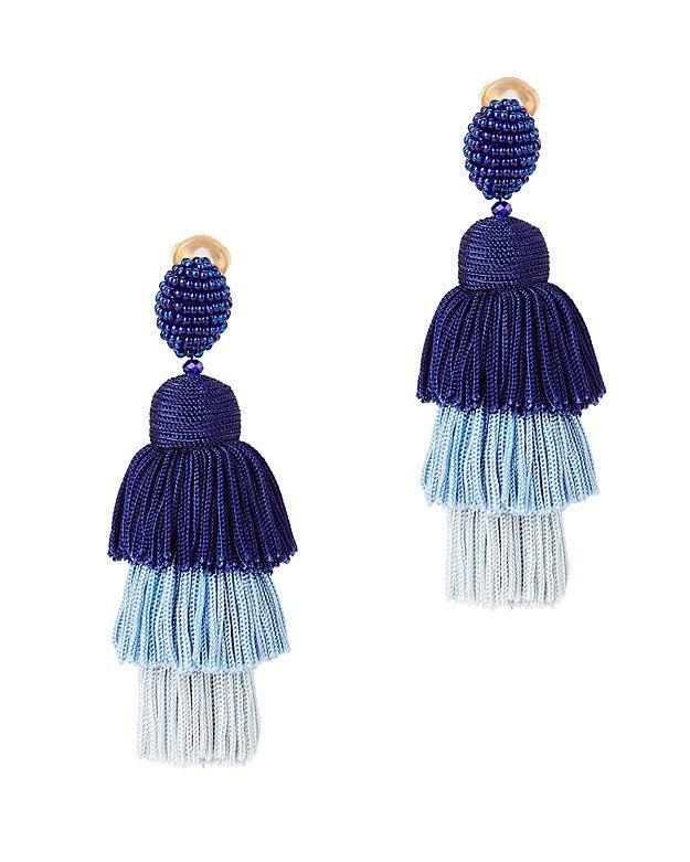 Oscar De La Renta Tiered Tassel Silk Earrings