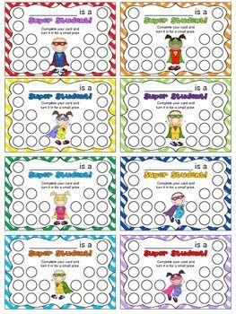 SUPER HERO PUNCH CARD PACK 2 - TeachersPayTeachers.com