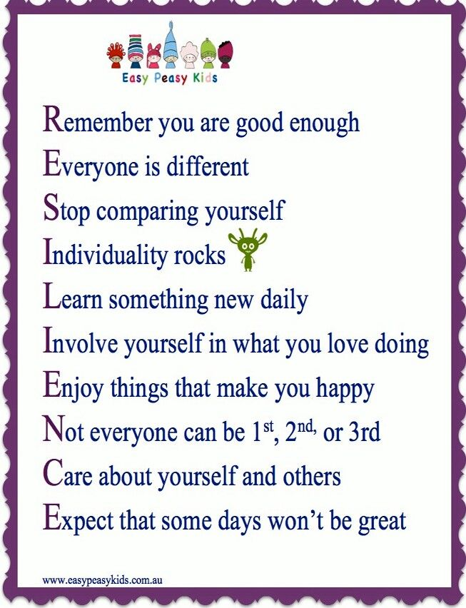 Great poster illustrates RESILIENCE - The graphic features a list of important tips or rules for young students to keep in mind.