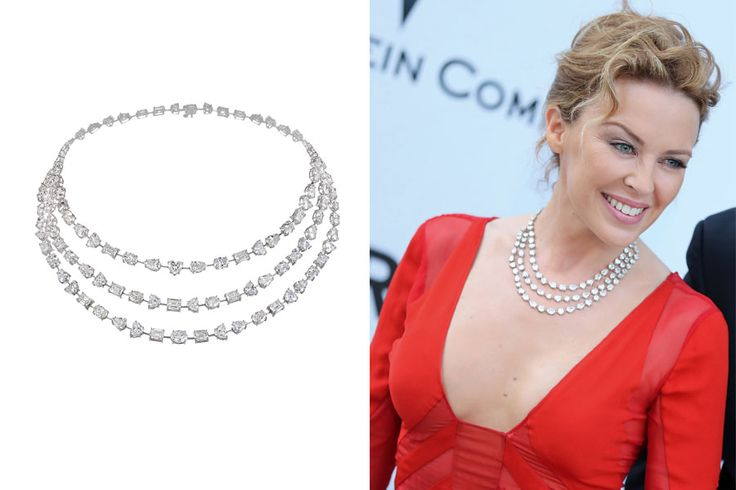 Kylie Minogue wears a diamond #necklace by Chopard at the Cannes Film FestivalCannes Film Festivals, Baubles Necklaces, Carpets Collection, Red Carpets, Diamond Necklaces, White Gold, Shape Diamonds, Diamonds Necklaces, Carpets Jewellery