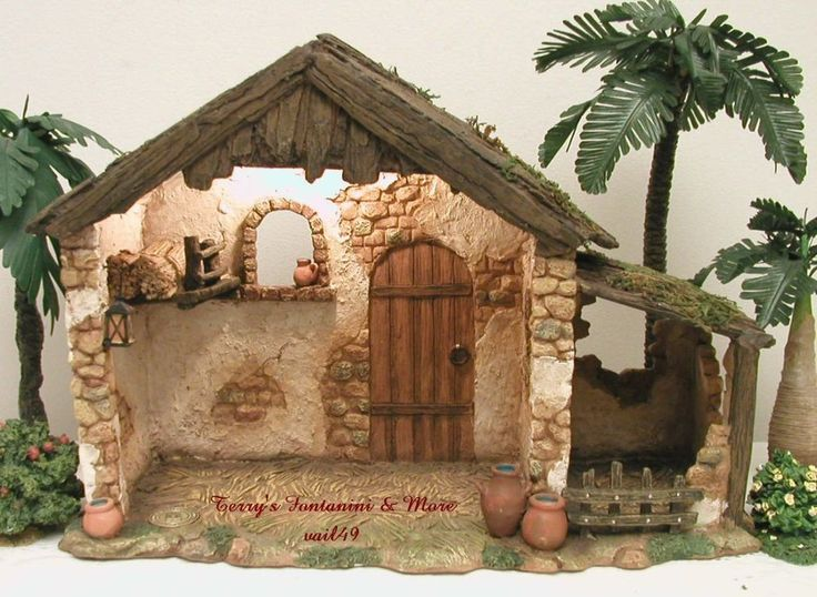 "FONTANINI ITALY 5"" LIGHTED ITALIAN TRADITIONAL NATIVITY VILLAGE STABLE 50567 NIB #LightedVillageStable #Fontanini"
