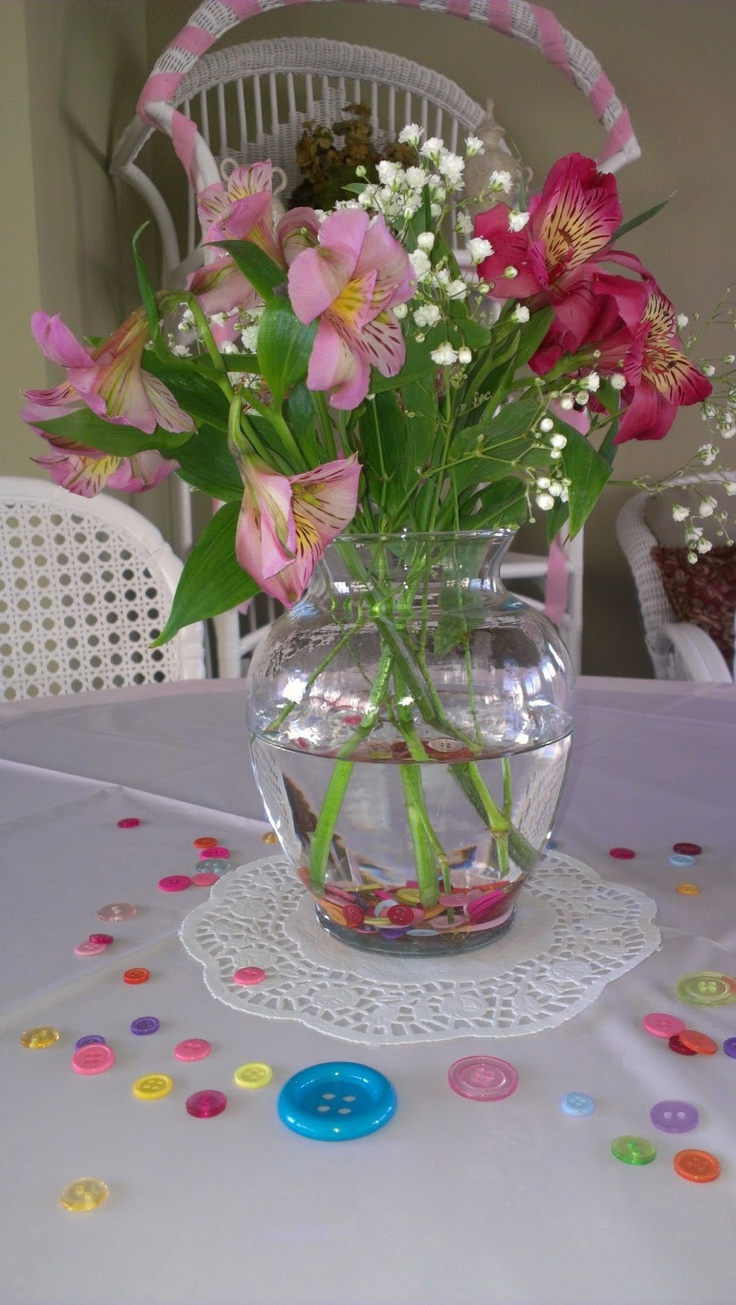 Cute As A Button Baby Shower Table Scape Tablescape