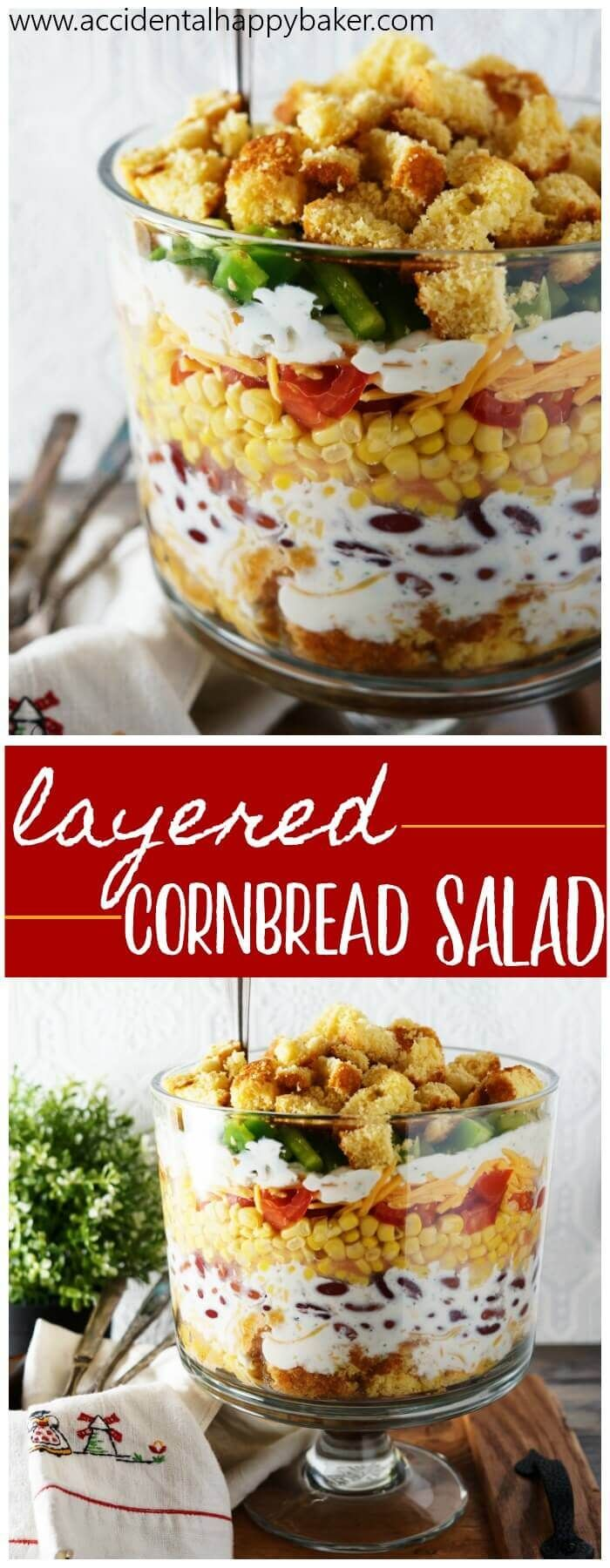 Fresh veggies are layered high with cornbread, cheese and ranch dressing. It's crunchy, creamy, savory, and with the cornbread, just a hint of sweet as well for a combination that can't be beat.