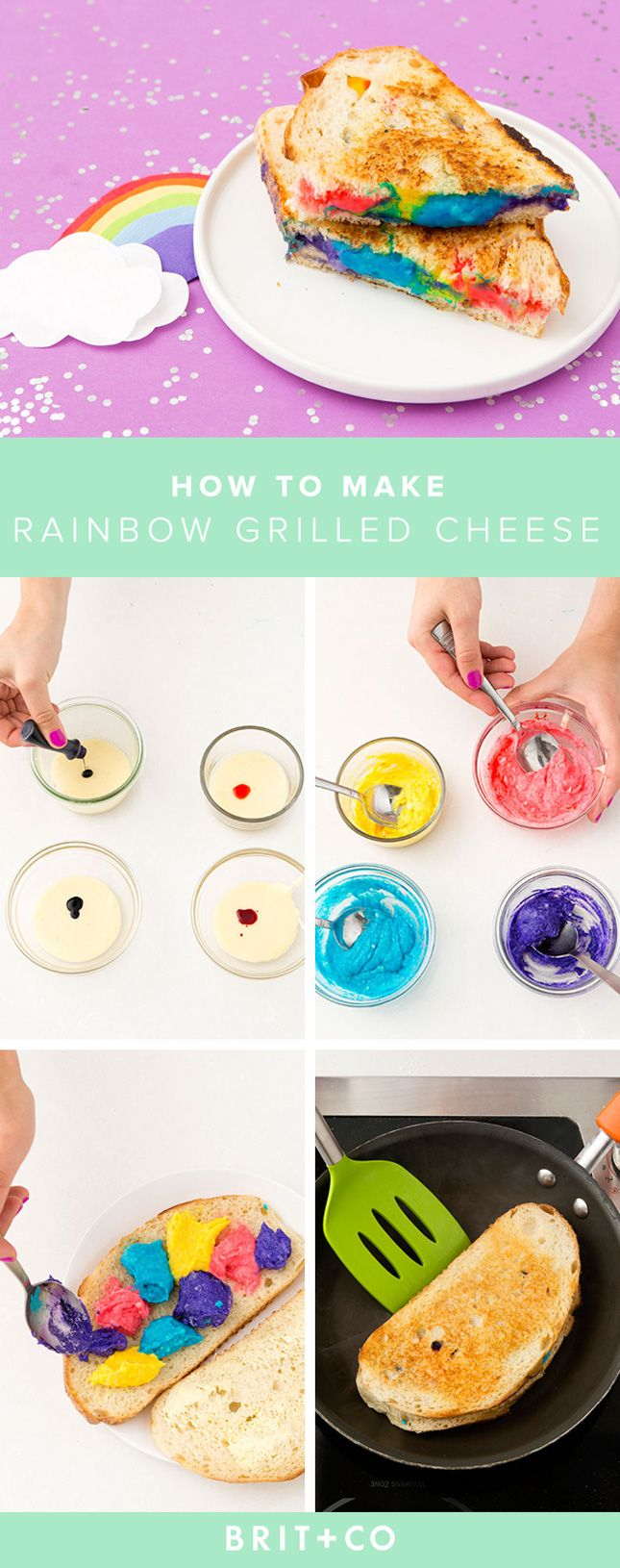 How delicious does this Rainbow Grilled Cheese recipe look?!