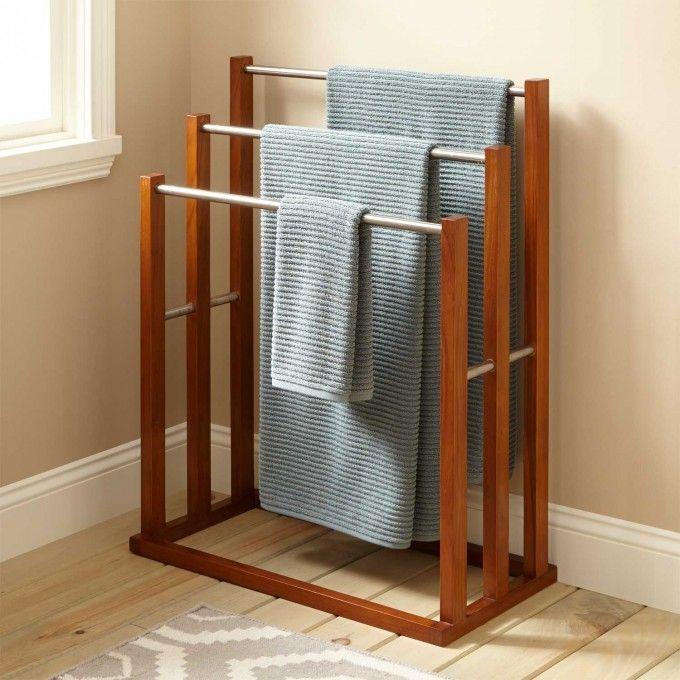 Celine Teak Towel Hanger with 3 Tiers