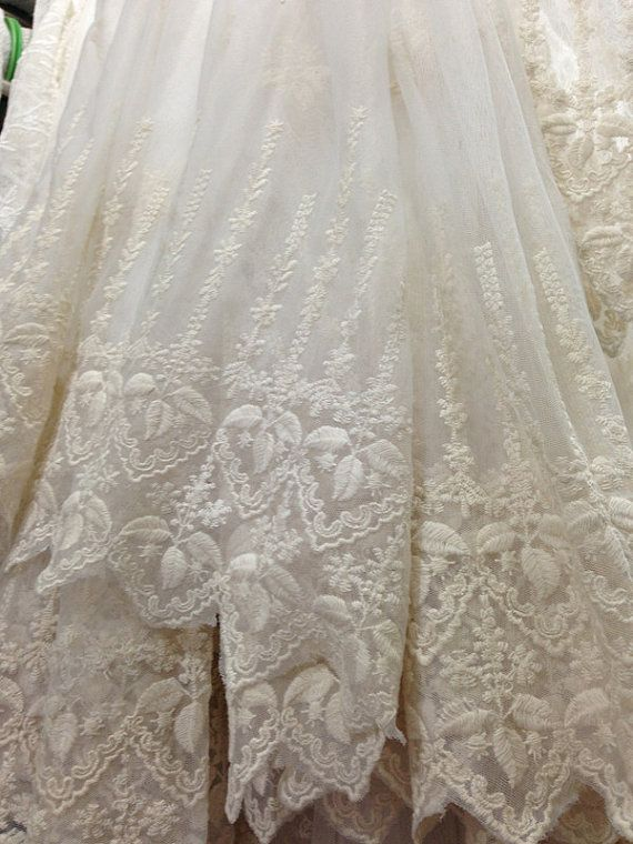 SALE Ivory Lace Fabric Retro Embroidered Lace Fabric by lacetime