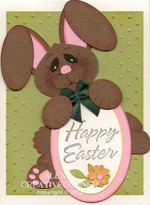 Alex's Creative Corner - Brown bunny punch art Easter Card
